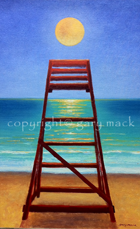 lifeguard chair with moonrise